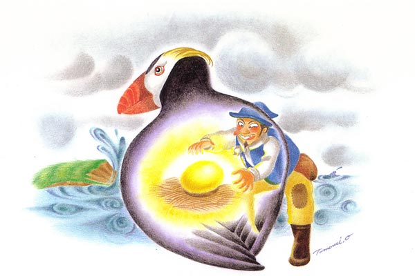 金の卵を生むエトピリカ 金の卵を生むエトピリカ 知床のまだ誰も行ったことのない海岸の崖で、村の.